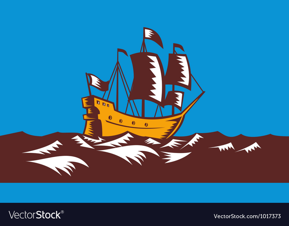 Tall sailing ship retro woodcut vector | Price: 1 Credit (USD $1)