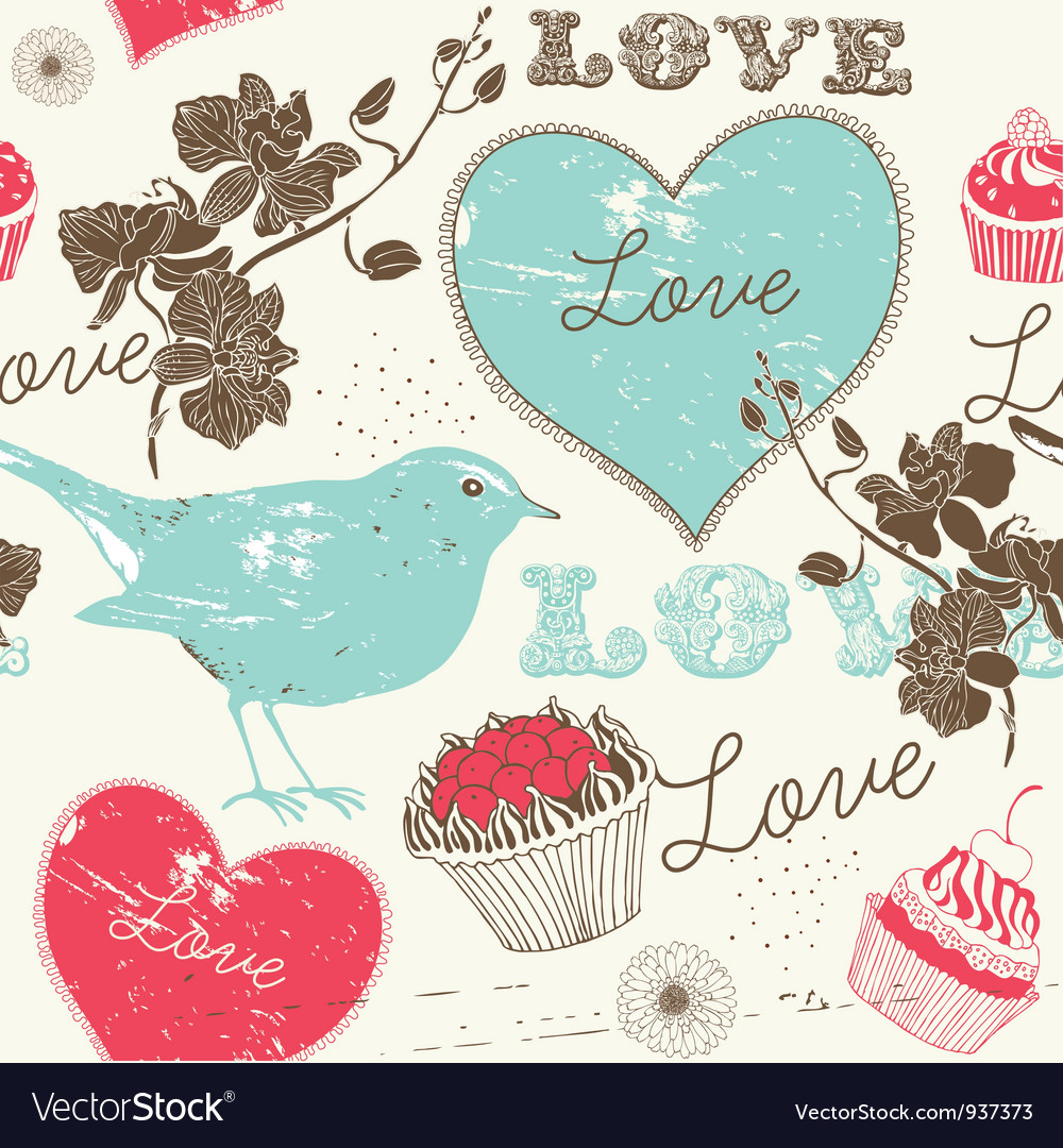 Vintage love background vector | Price: 1 Credit (USD $1)
