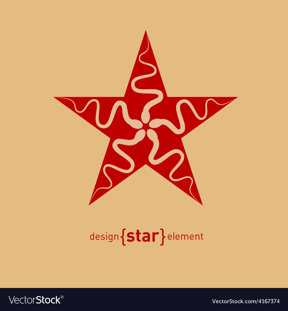 Abstract design element star with spermatozoon vector | Price: 1 Credit (USD $1)