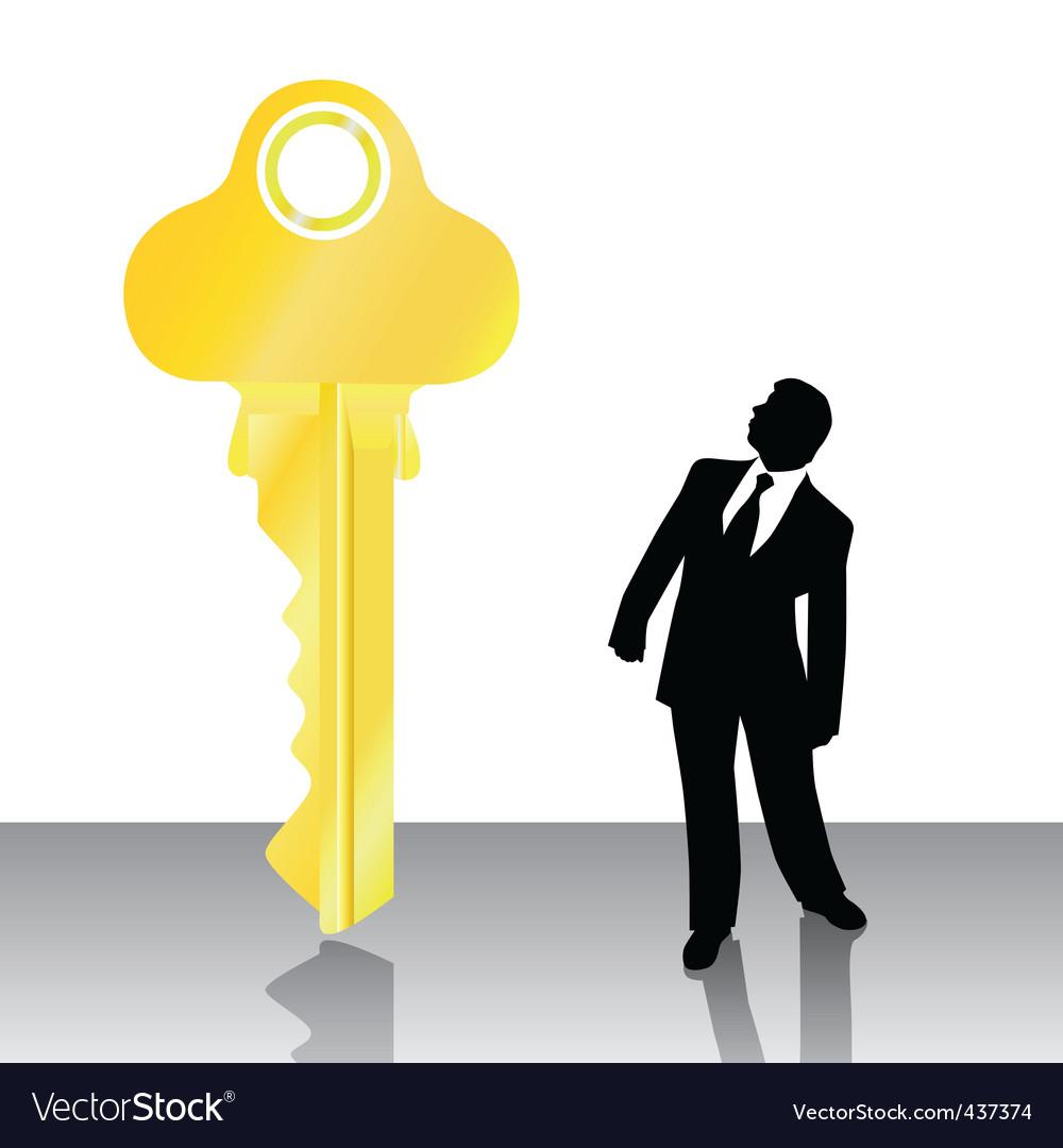 Businessman looking big key vector | Price: 1 Credit (USD $1)