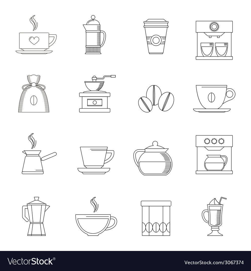 Coffee icons outline vector | Price: 1 Credit (USD $1)