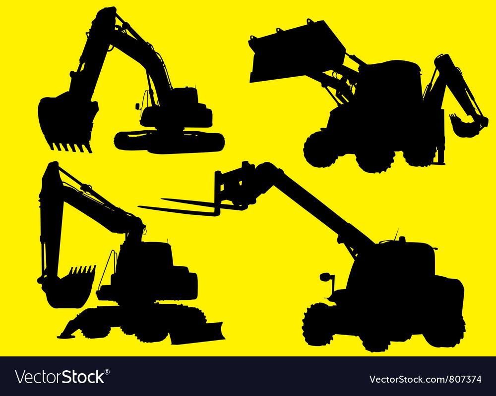 Construction vehicles silhouettes vector | Price: 1 Credit (USD $1)