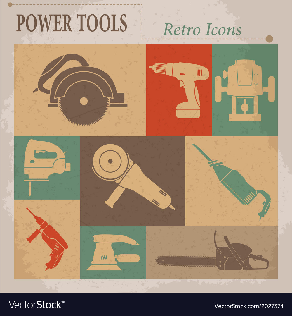 Electric tool flat retro icons vector | Price: 1 Credit (USD $1)