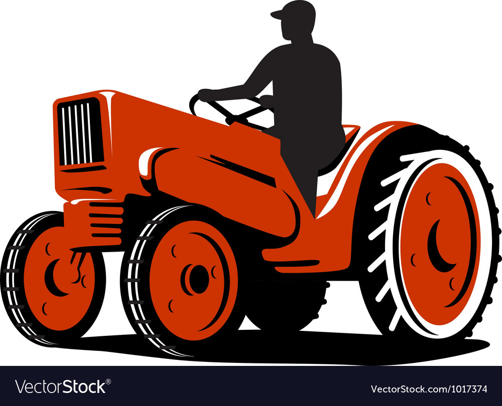 Farmer driving vintage tractor retro vector | Price: 1 Credit (USD $1)