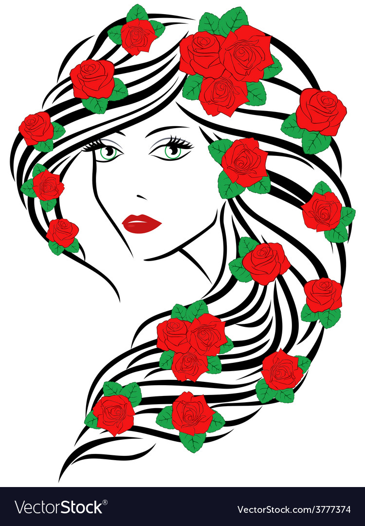 Fashionable women with roses on hair vector | Price: 1 Credit (USD $1)