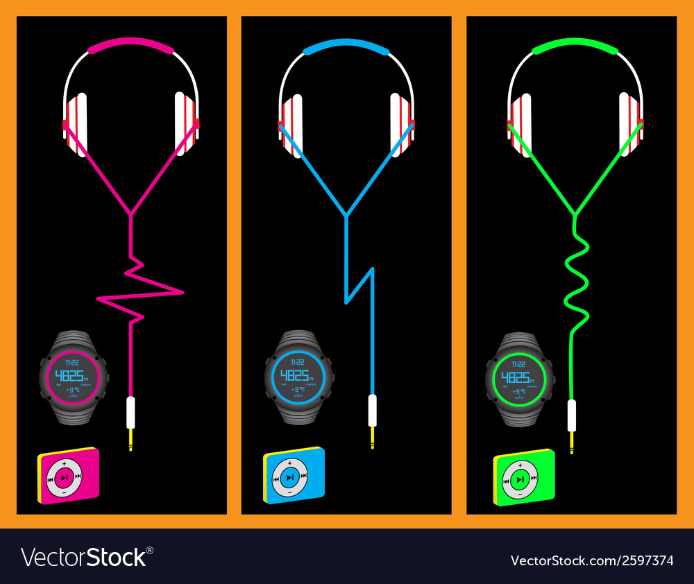 Headphones watch mp3 vector | Price: 1 Credit (USD $1)