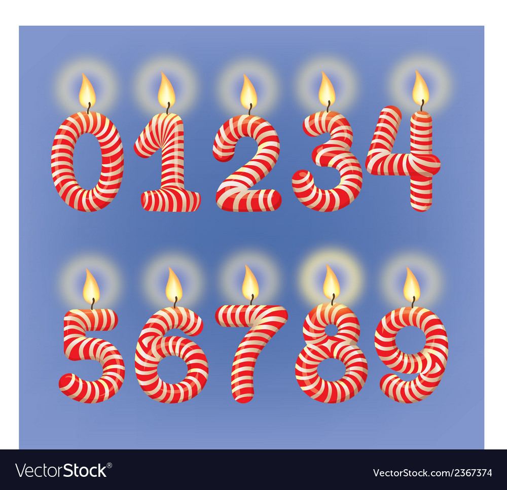Holiday candles numbers vector | Price: 1 Credit (USD $1)