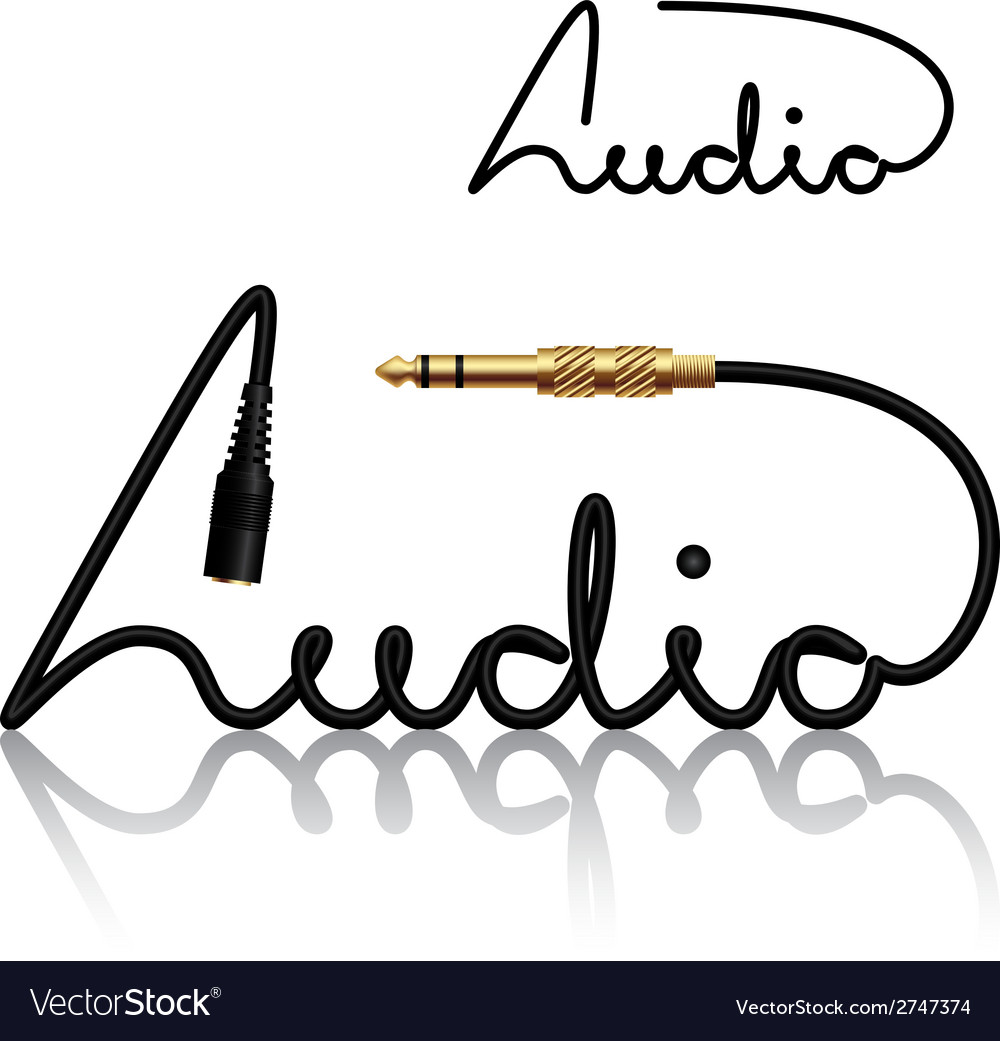Jack connectors audio calligraphy vector | Price: 1 Credit (USD $1)
