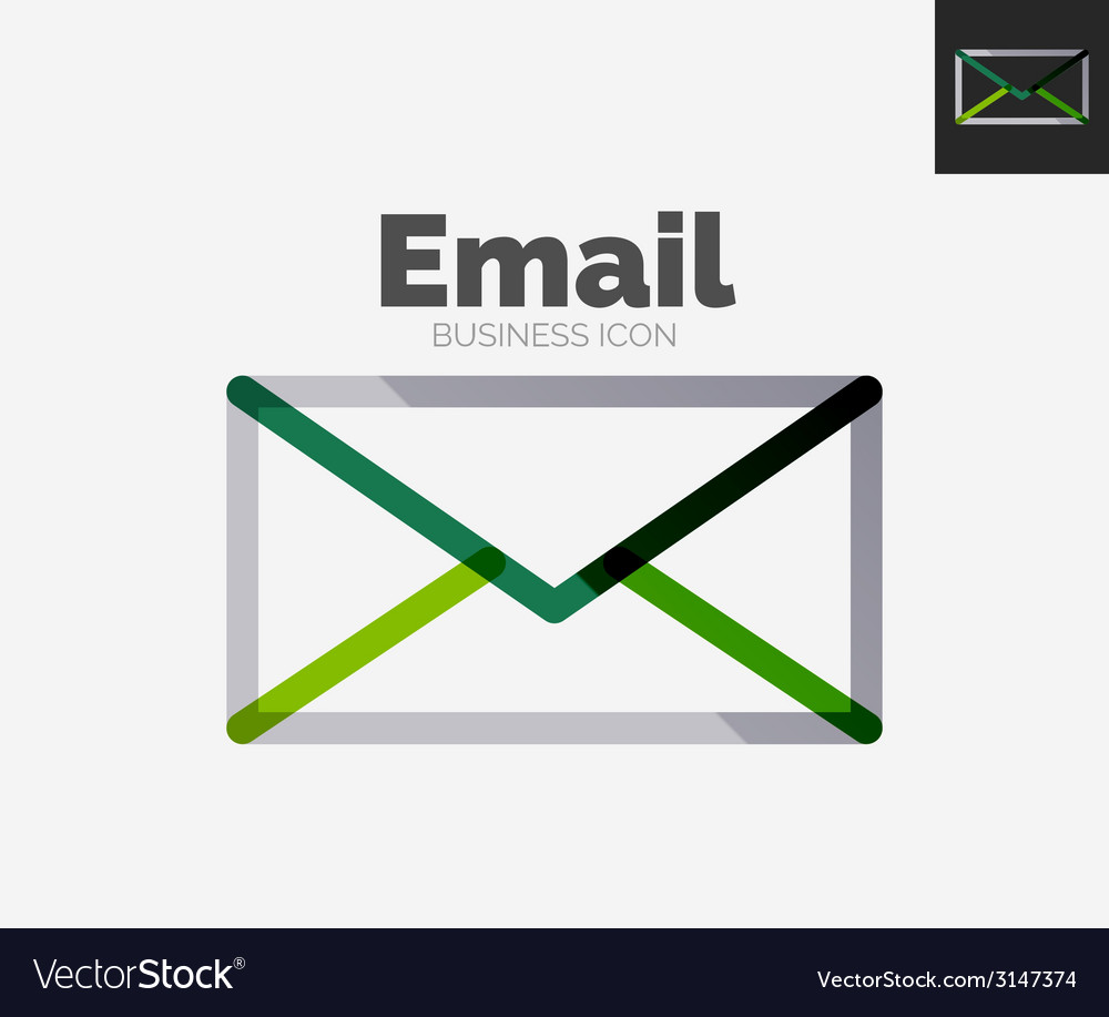 Minimal line design logo email icon vector | Price: 1 Credit (USD $1)