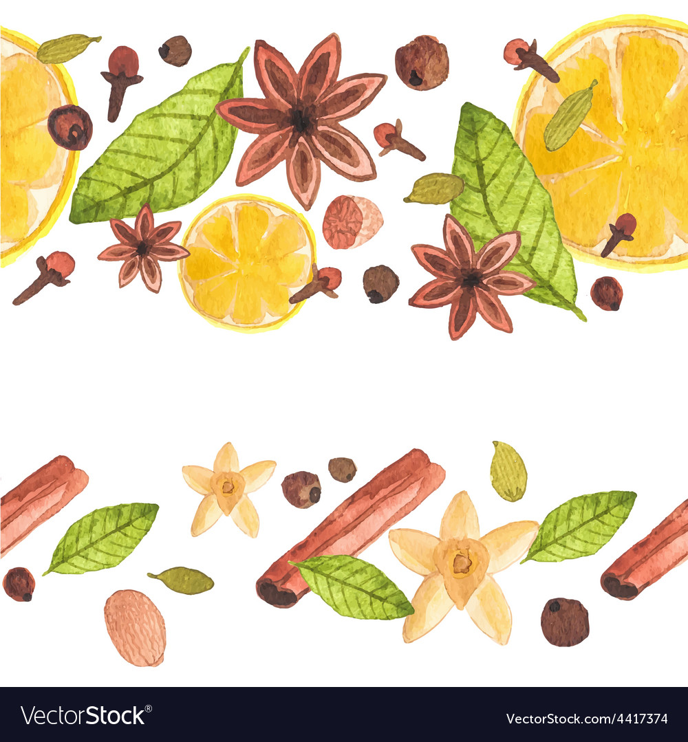 Seamless watercolor pattern with different spices vector | Price: 1 Credit (USD $1)