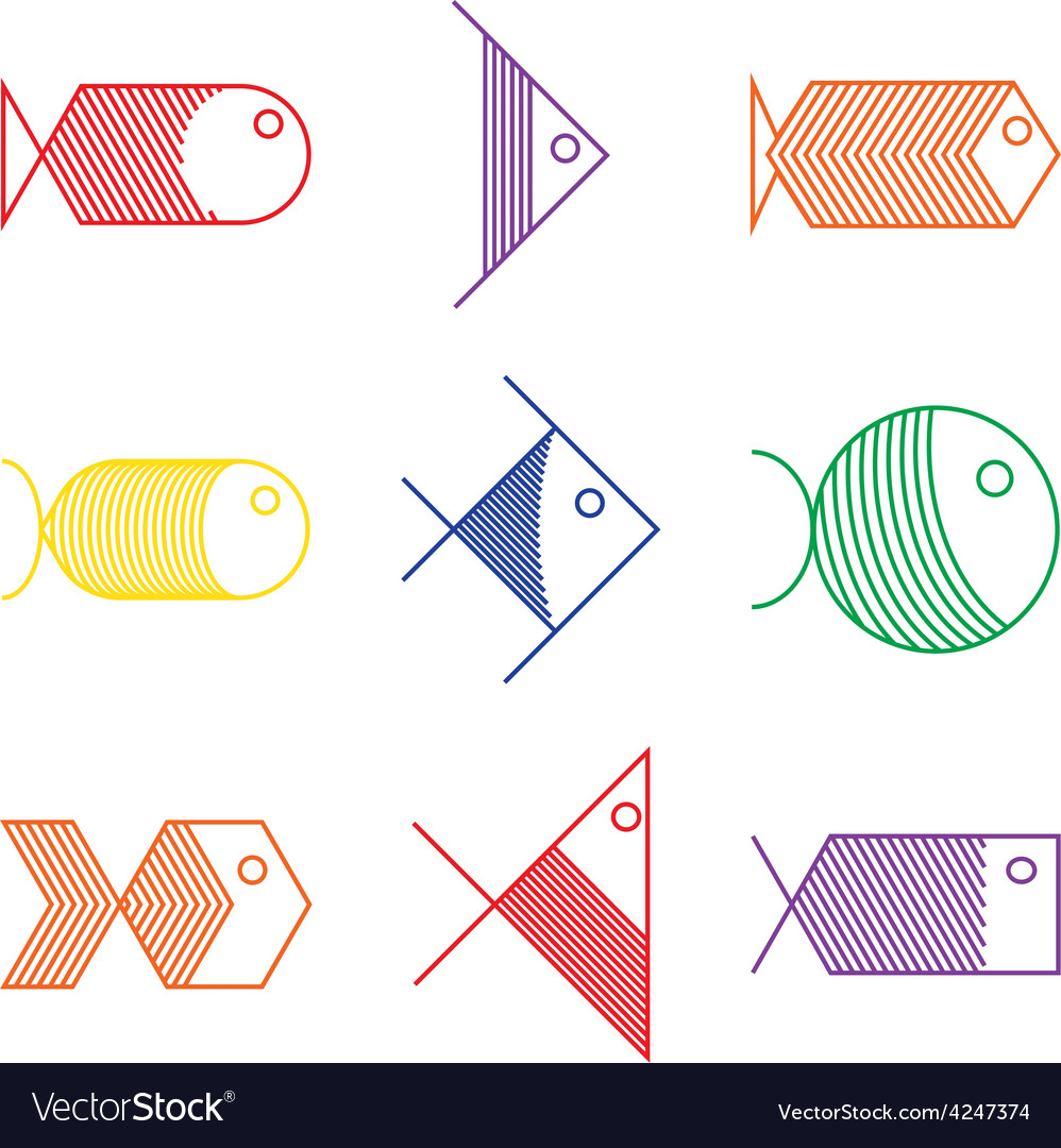Set of colorful fish icons vector | Price: 1 Credit (USD $1)