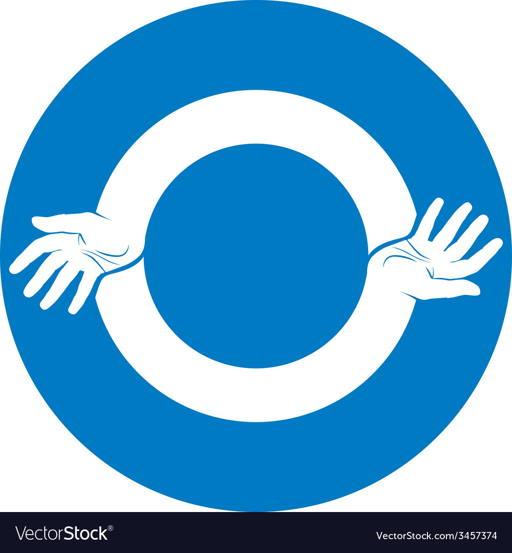 Two hands round abstract symbol vector | Price: 1 Credit (USD $1)