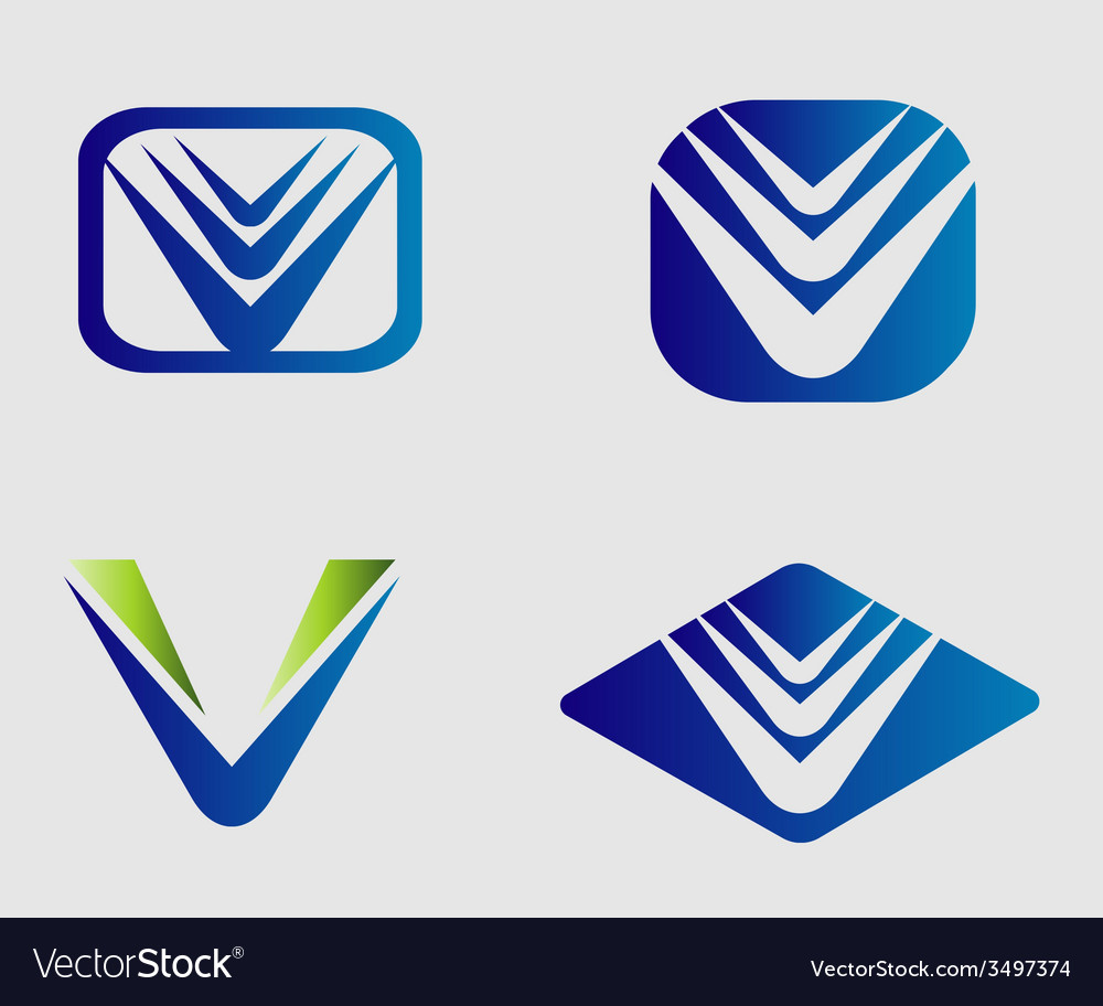 V logo set vector | Price: 1 Credit (USD $1)