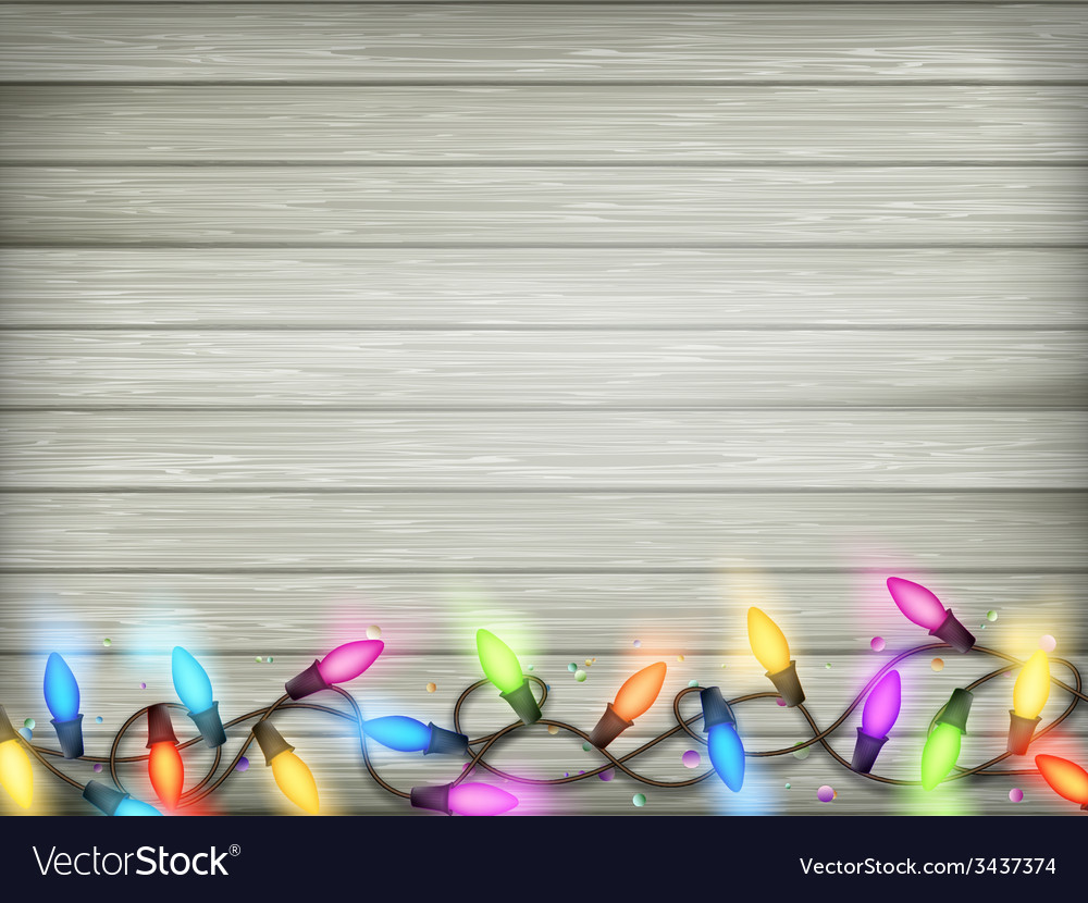 Vintage christmas planked wood with lights eps 10 vector | Price: 1 Credit (USD $1)
