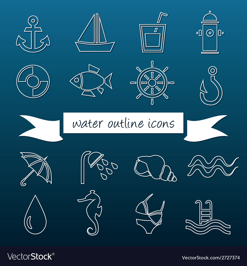 Water outline icons vector | Price: 1 Credit (USD $1)