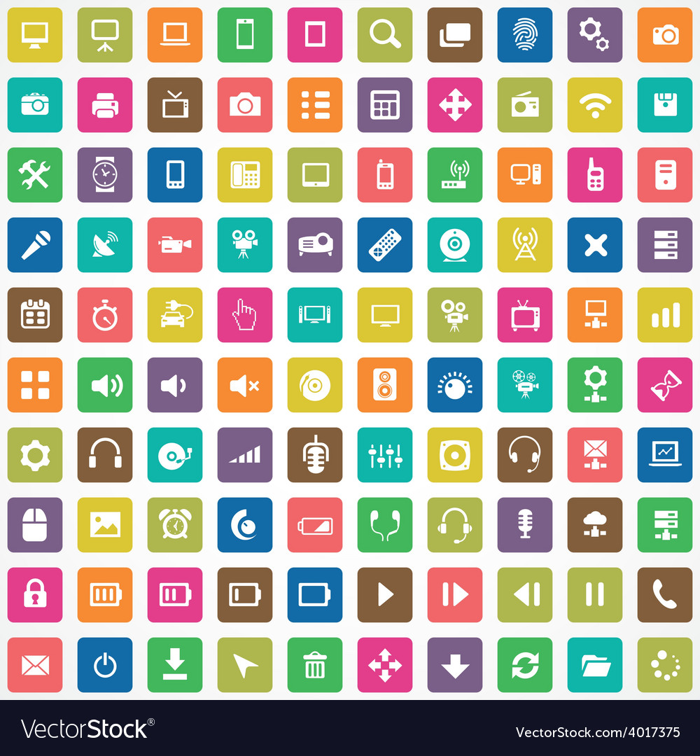 100 device icons vector | Price: 1 Credit (USD $1)