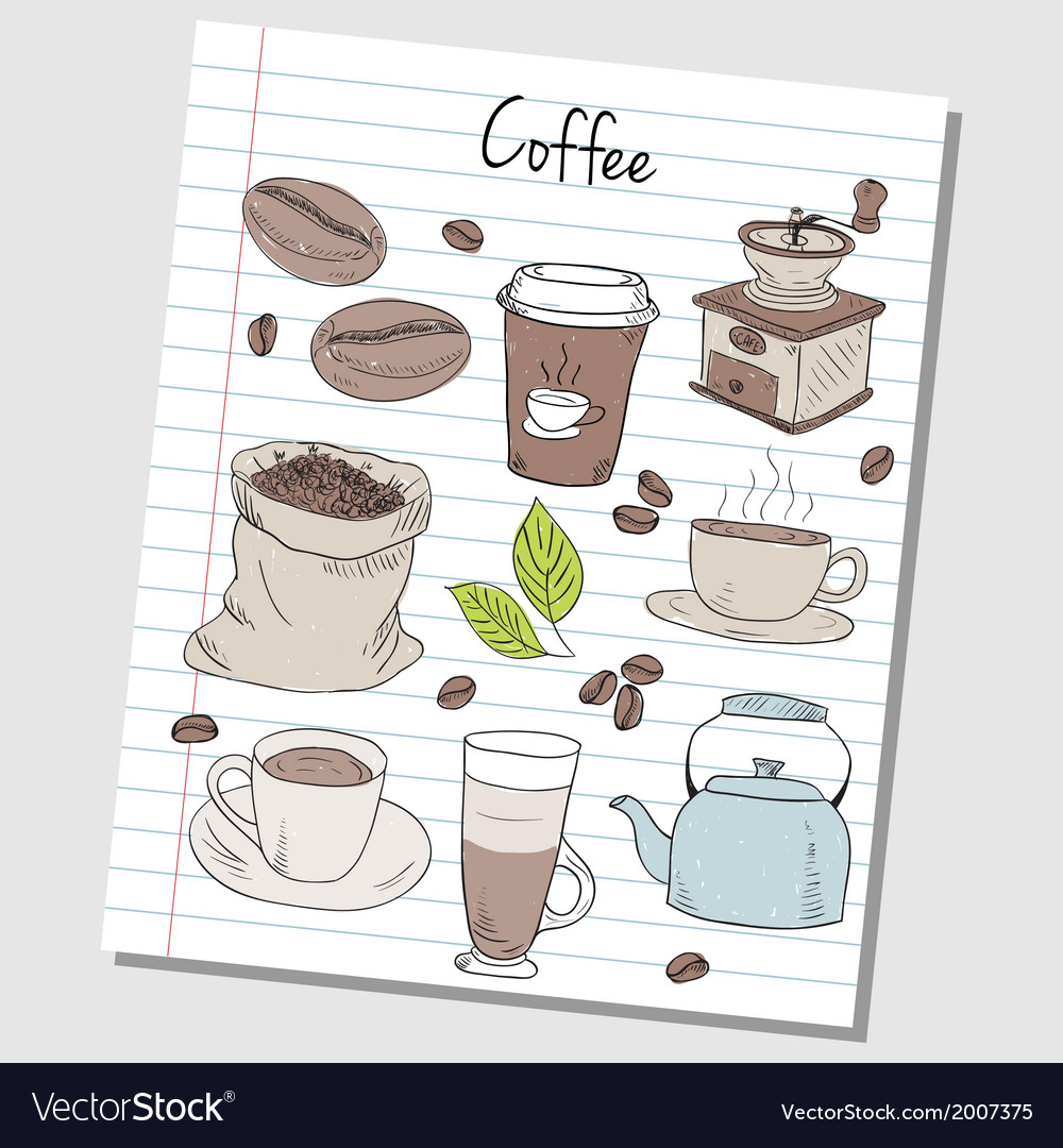 Coffee doodles lined paper colored vector | Price: 1 Credit (USD $1)