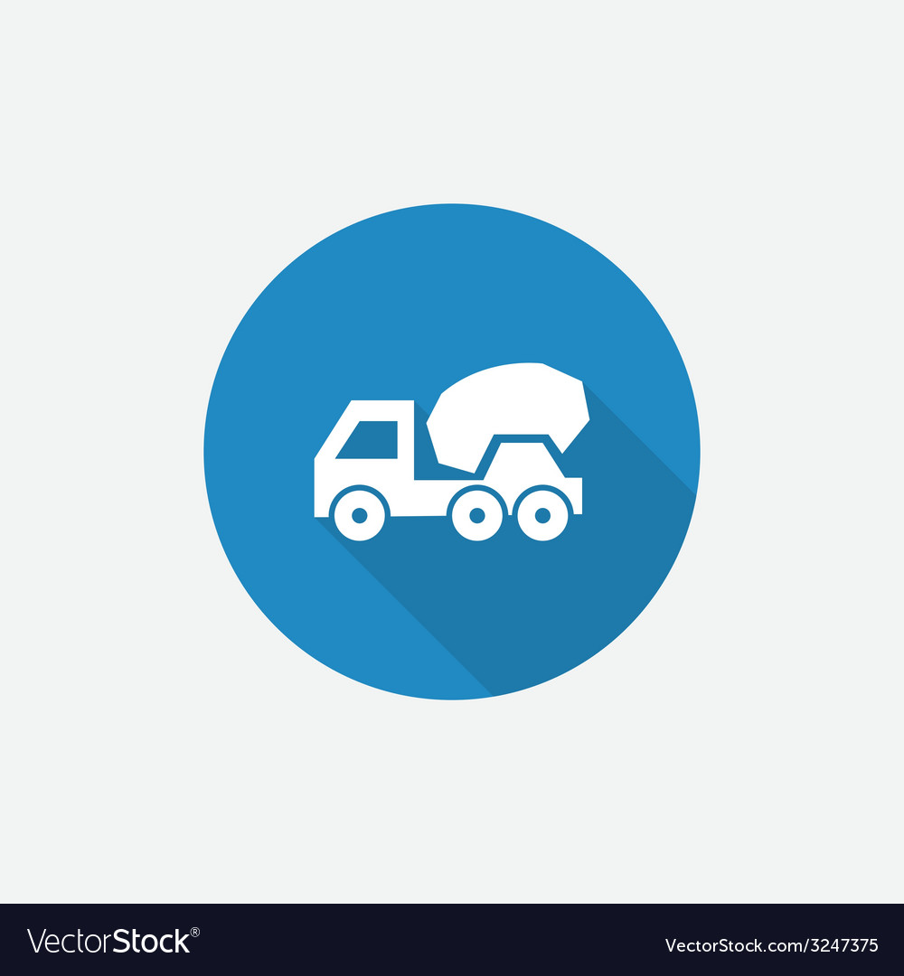 Concrete mixer flat blue simple icon with long vector | Price: 1 Credit (USD $1)