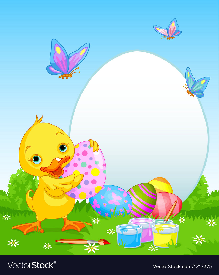 Easter duckling painting easter eggs vector | Price: 3 Credit (USD $3)