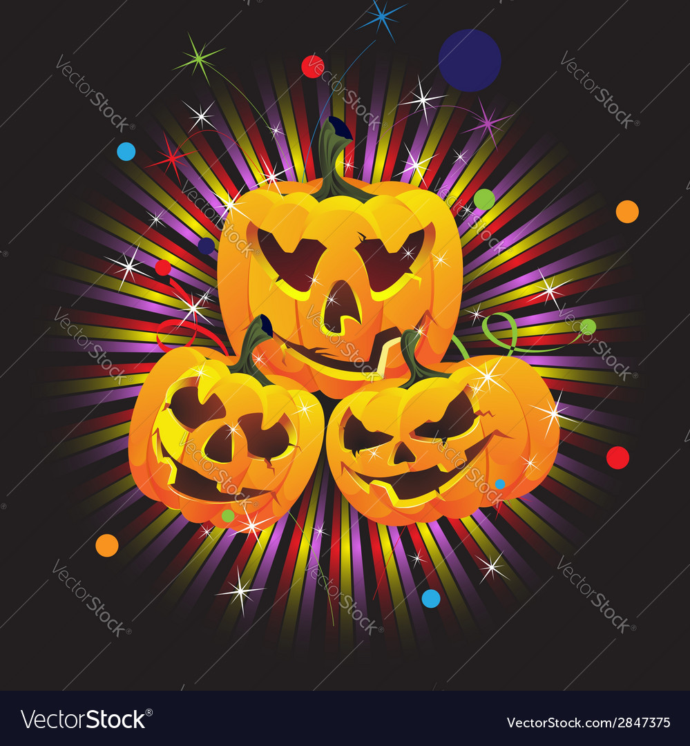 Laughing jack o lanterns vector | Price: 1 Credit (USD $1)