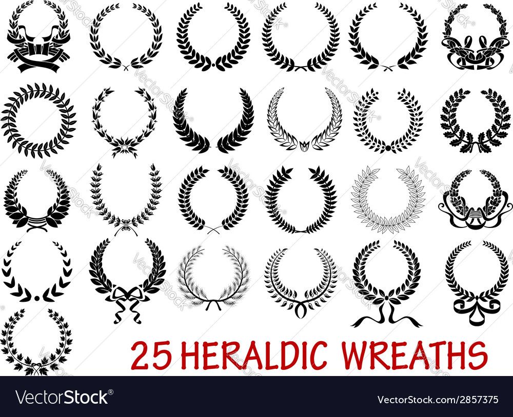 Laurel wreath heraldic set vector | Price: 1 Credit (USD $1)