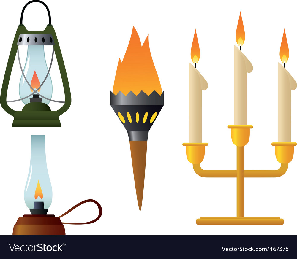 Old lamp burning vector | Price: 1 Credit (USD $1)