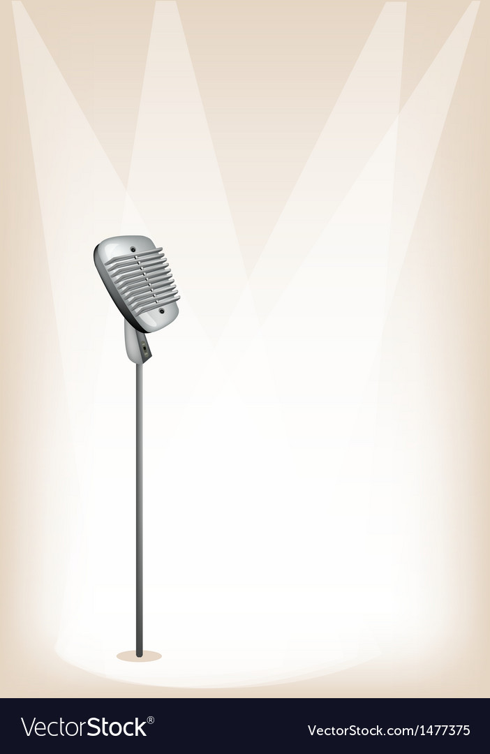 Retro microphone stage background vector