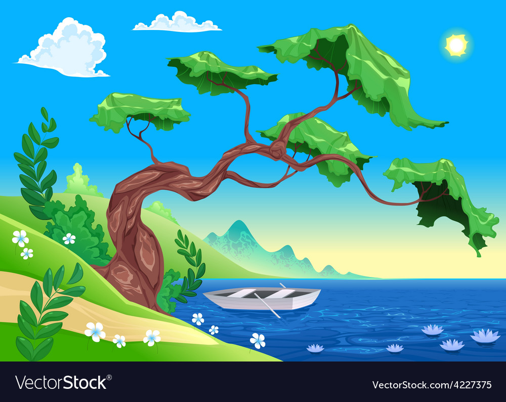 Romantic landscape with tree and water vector | Price: 3 Credit (USD $3)