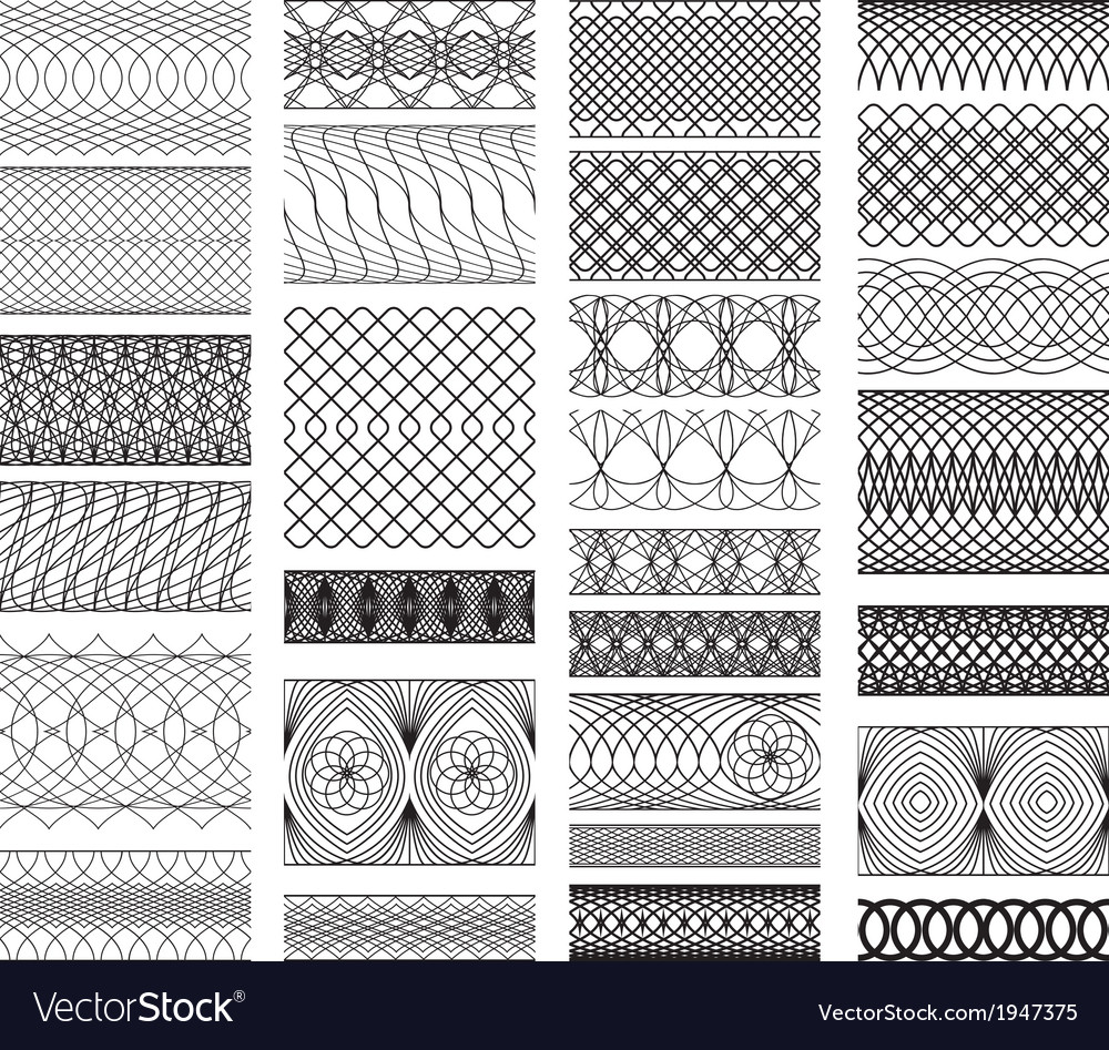 Set of vintage backgrounds guilloche ornamental vector | Price: 1 Credit (USD $1)