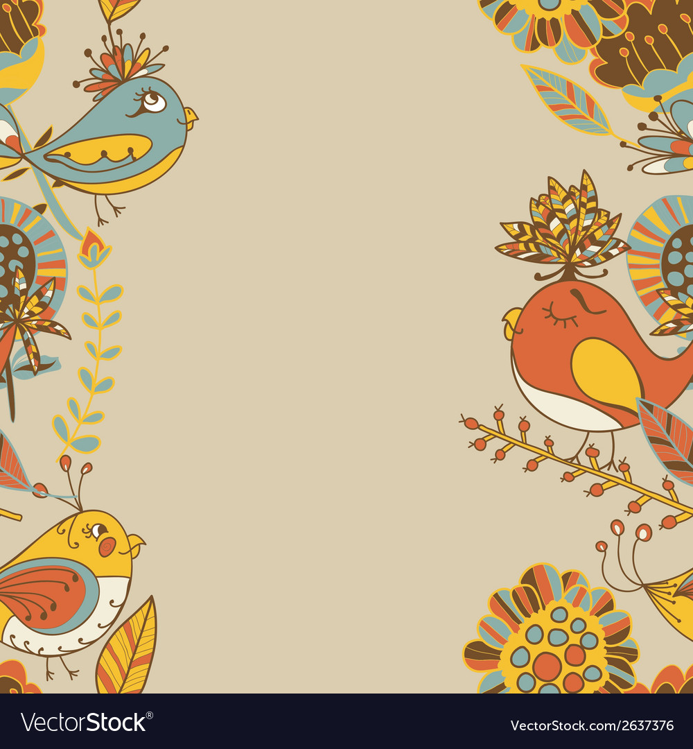 Border with abstract hand-drawn flowers and birds vector | Price: 1 Credit (USD $1)