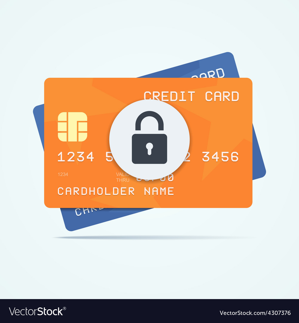 Credit cards with padlock for a security payment vector | Price: 1 Credit (USD $1)