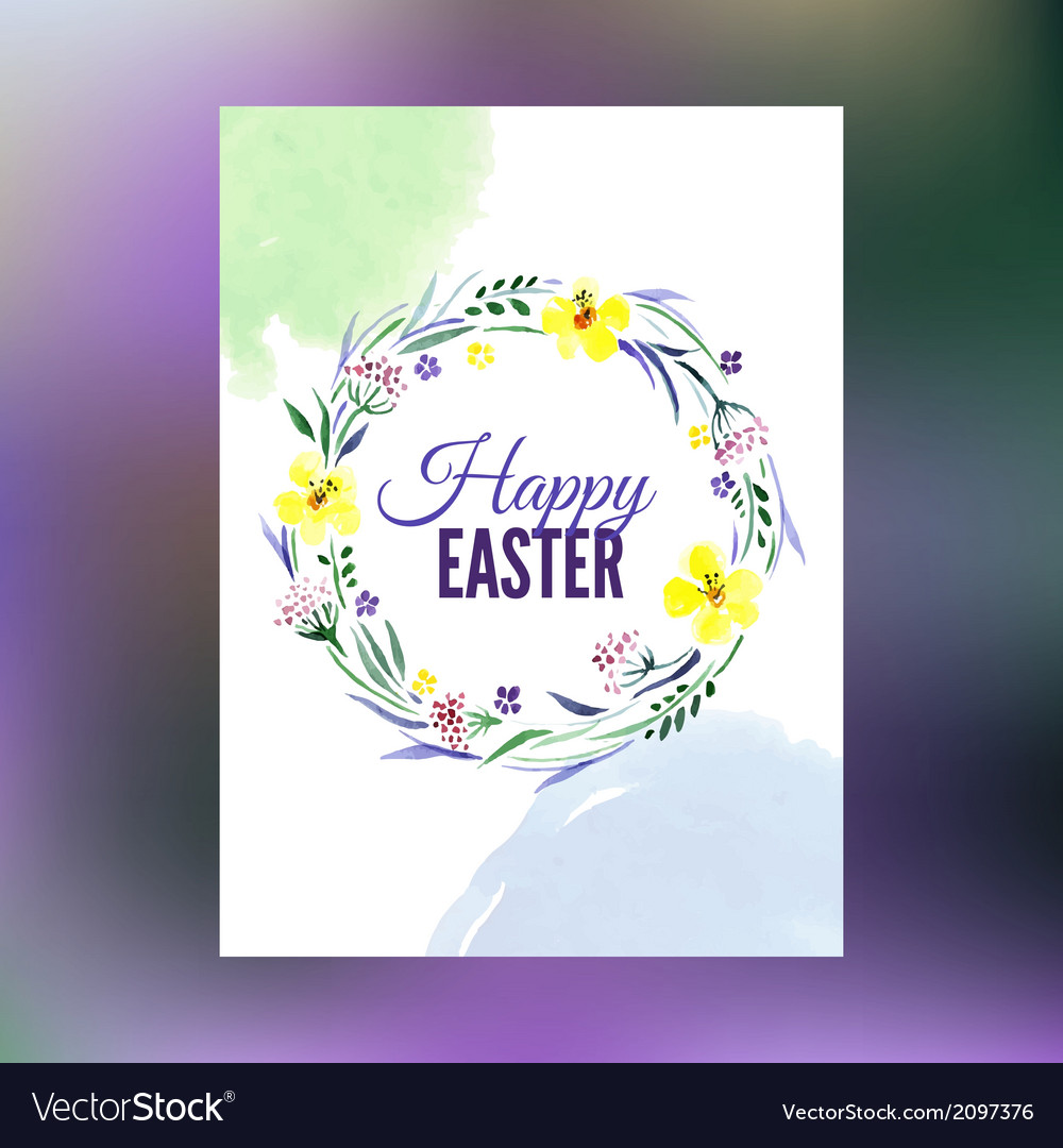 Easter greeting card watercolor hand drawn vector | Price: 1 Credit (USD $1)