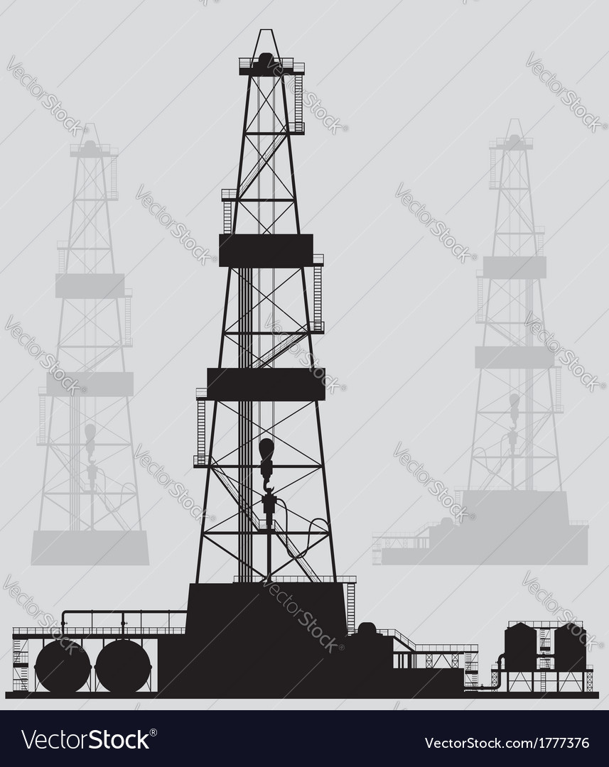 Oil rigs silhouette detailed vector | Price: 1 Credit (USD $1)