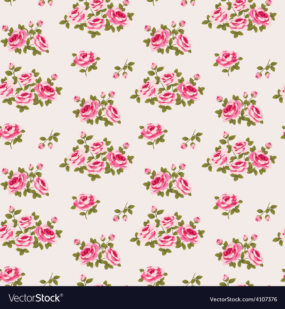 Seamless floral pattern with little roses vector