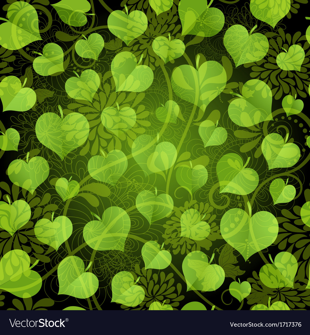 Seamless pattern with bright green leaves vector | Price: 1 Credit (USD $1)