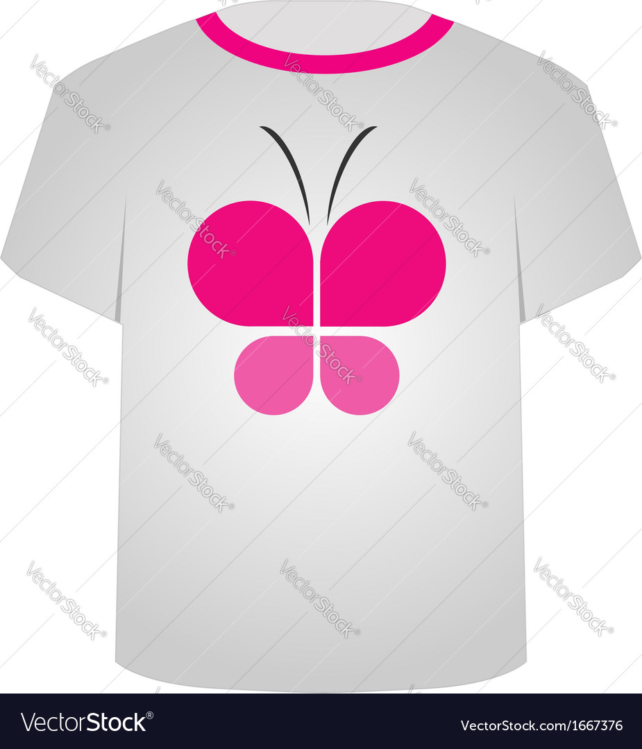 T shirt template- butterfly vector | Price: 1 Credit (USD $1)