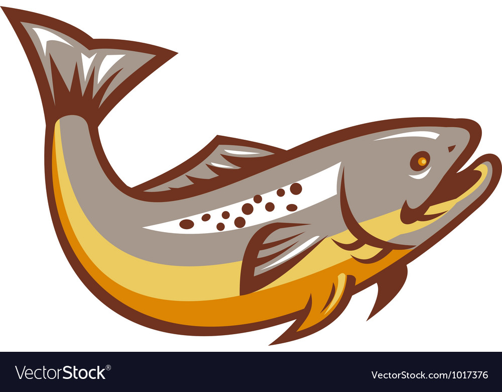 Trout fish jumping retro vector | Price: 1 Credit (USD $1)