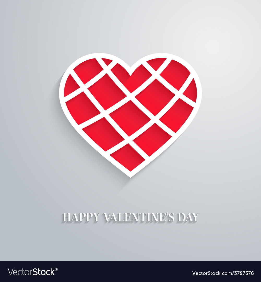 Valentines day card with cut heart vector | Price: 1 Credit (USD $1)