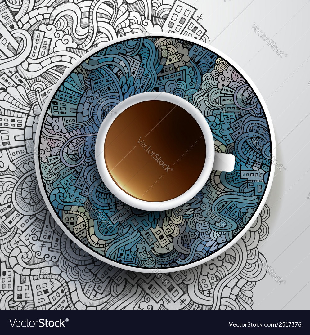 With a cup of coffee vector