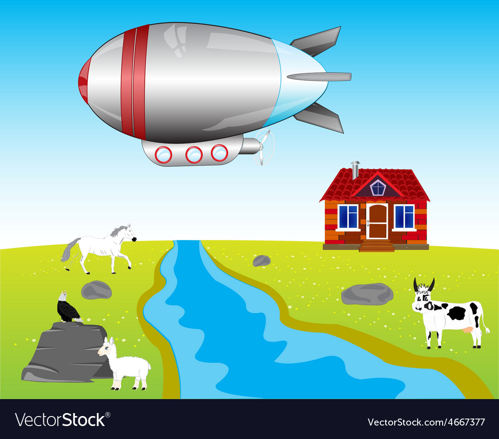 Airship on village vector | Price: 1 Credit (USD $1)