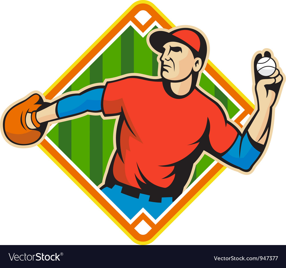Baseball player pitcher throwing ball vector | Price: 1 Credit (USD $1)