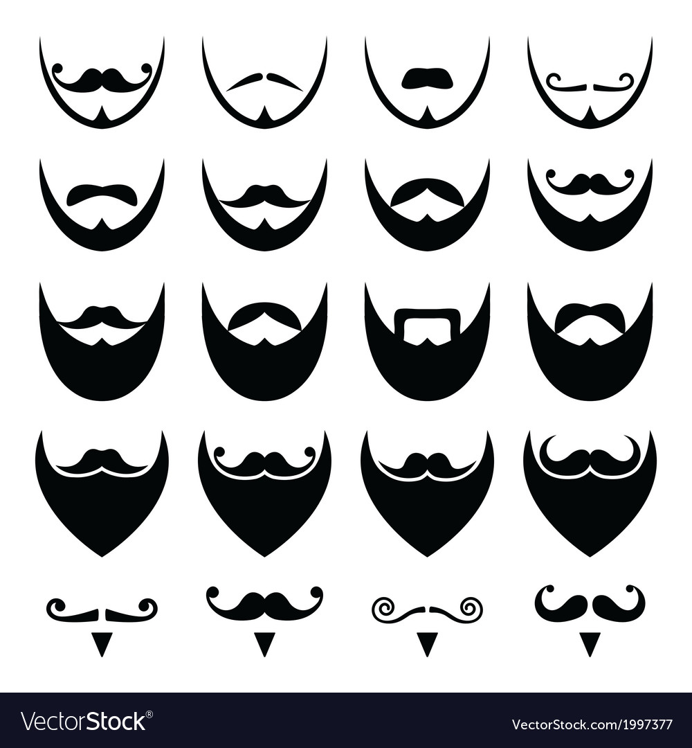Beard with moustache or mustache icons set vector | Price: 1 Credit (USD $1)
