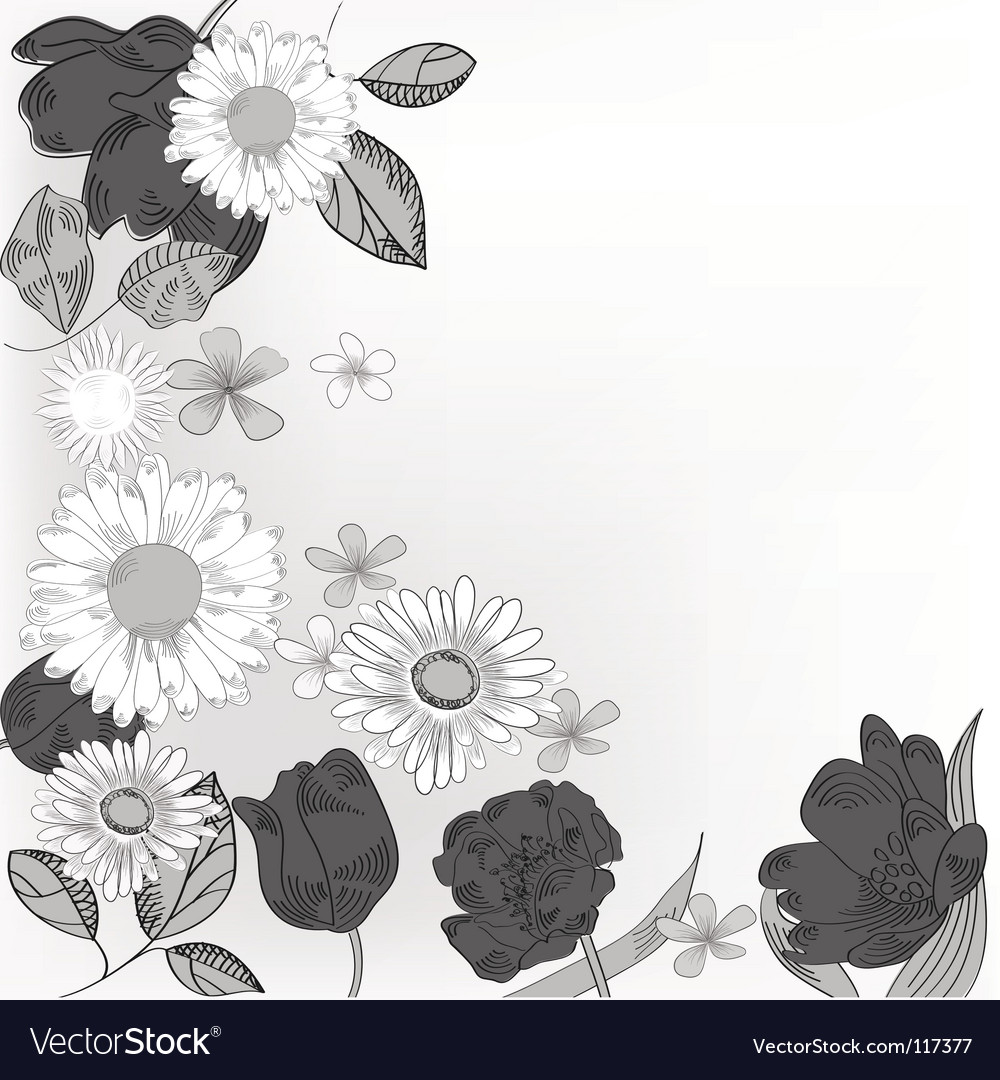 Black and white floral card vector | Price: 1 Credit (USD $1)