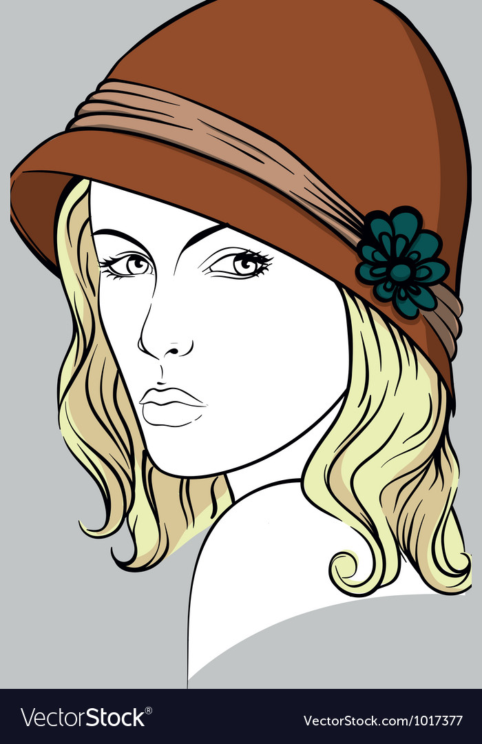 Blonde woman with brown hat vector | Price: 1 Credit (USD $1)