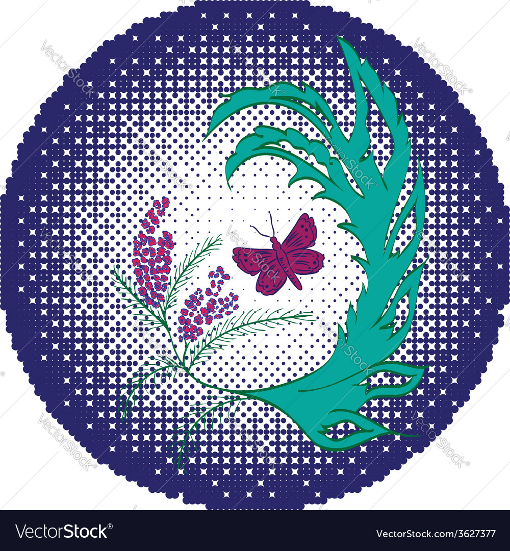 Butterfly with floral5 vector | Price: 1 Credit (USD $1)