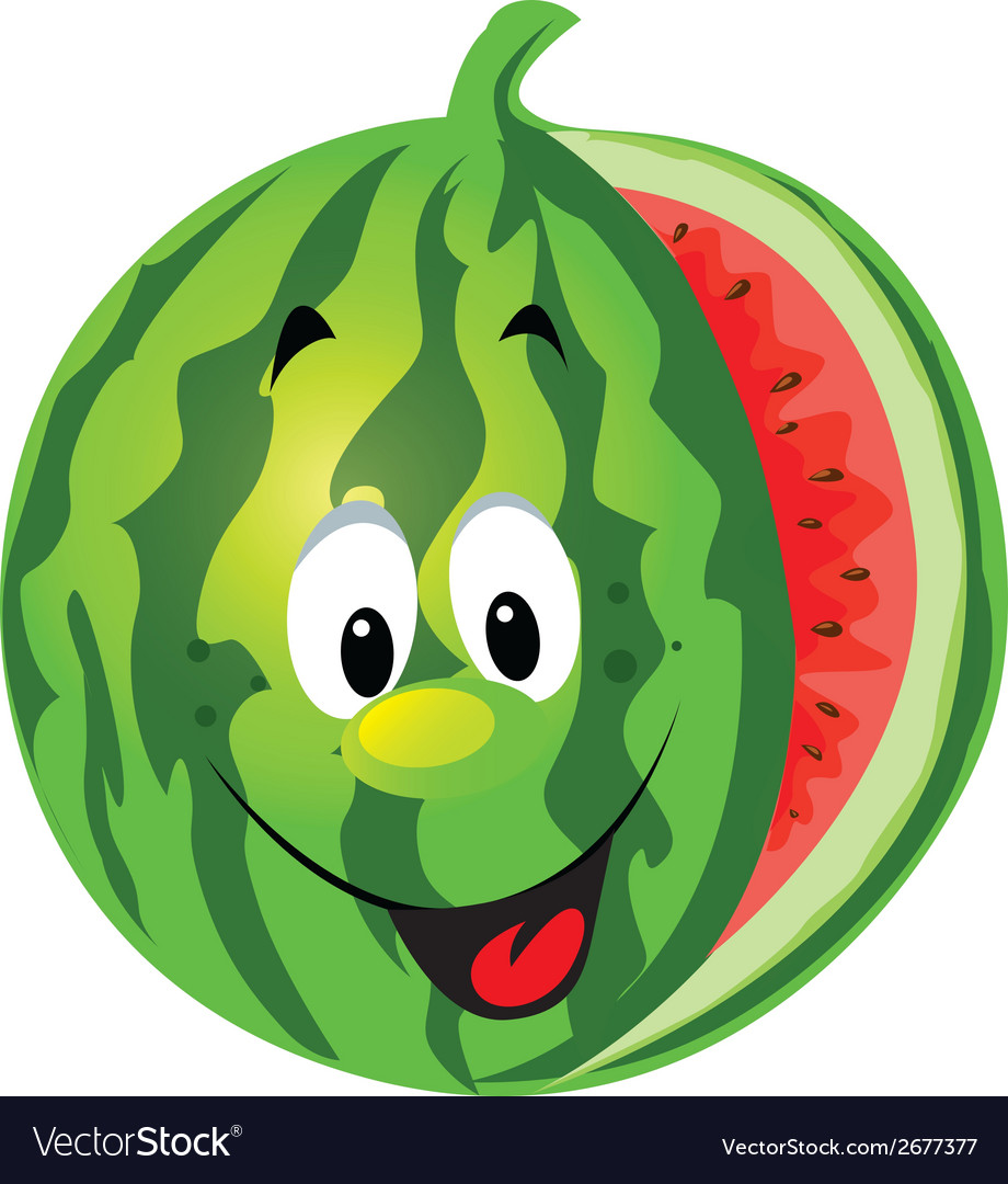 Happy melon cartoon vector | Price: 1 Credit (USD $1)