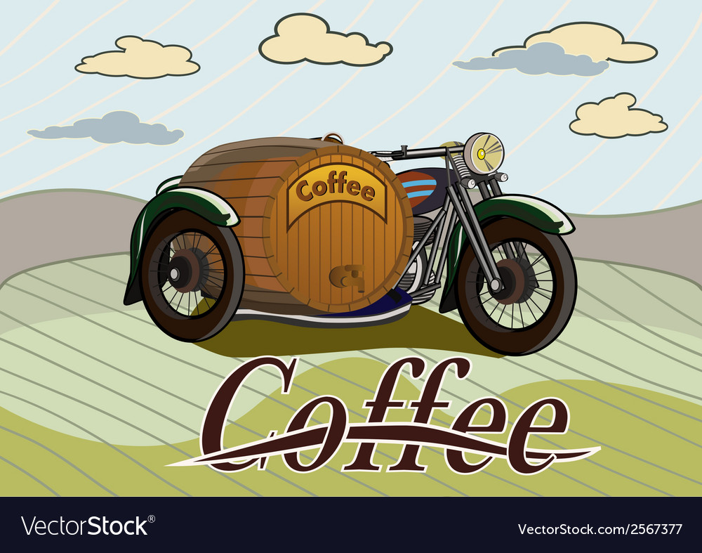 Retro banner with a barrel of coffee vector | Price: 1 Credit (USD $1)