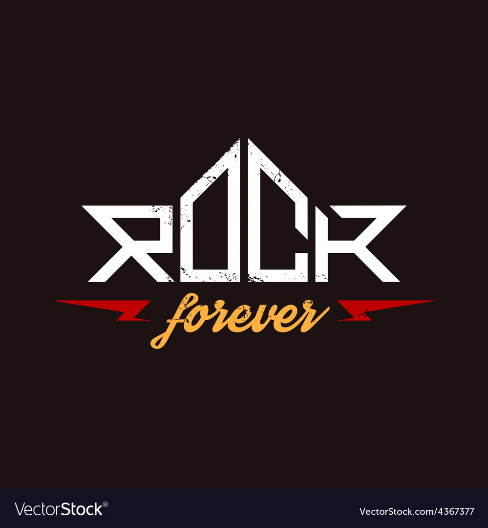 Rock forever - orirginal lettering with lightnings vector | Price: 1 Credit (USD $1)