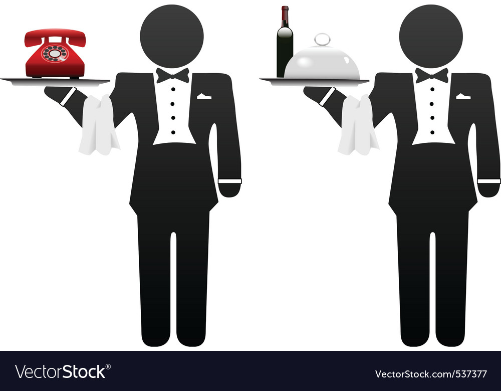 Room service waiter vector | Price: 1 Credit (USD $1)