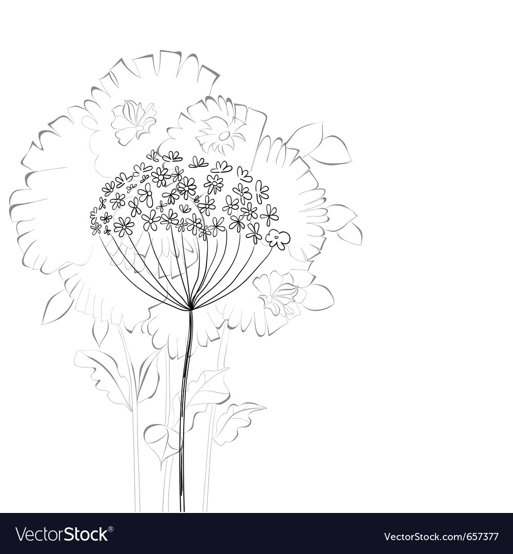 Sketch with floral element vector | Price: 1 Credit (USD $1)